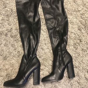 Forever 21 Faux Leather Thigh High Boots